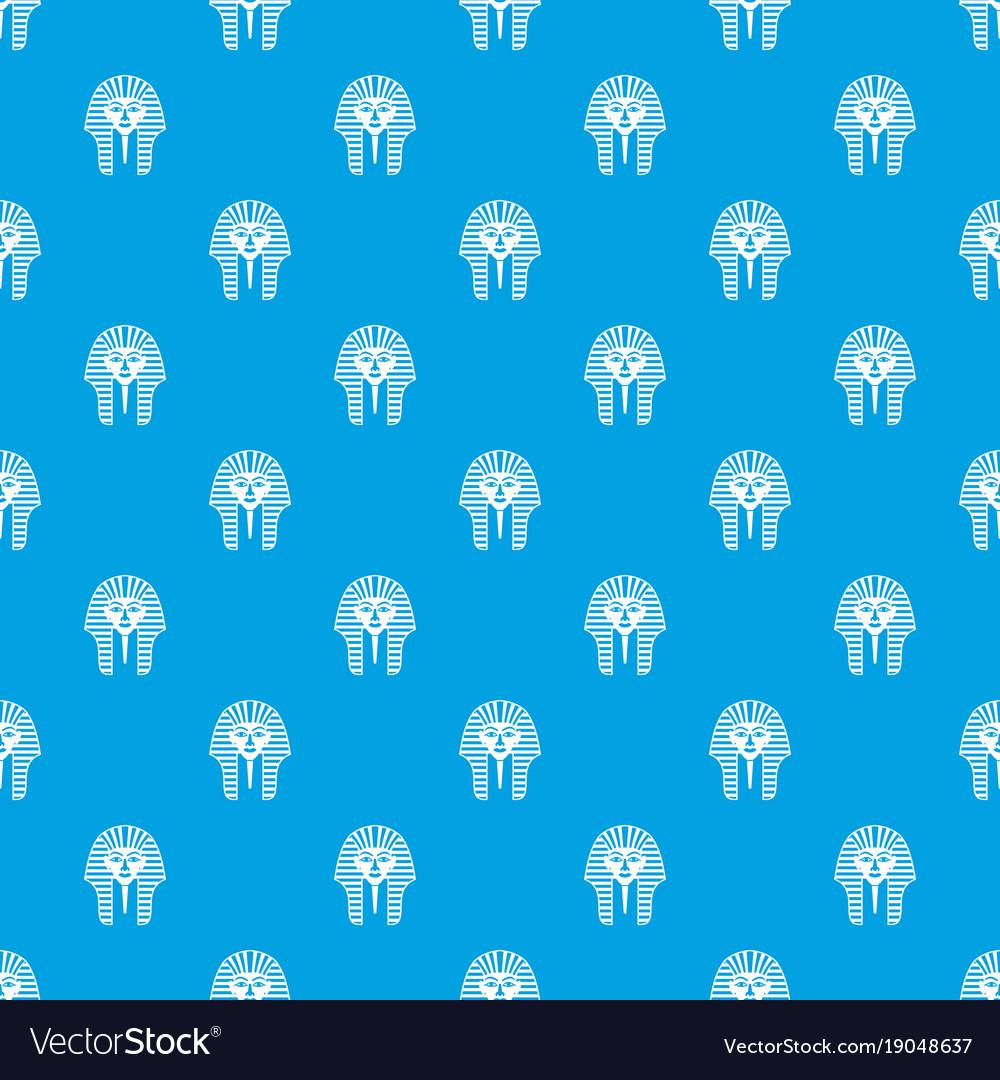 Tutankhamen mask pattern seamless blue vector image