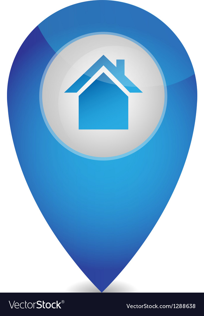 Map pointer with house vector image