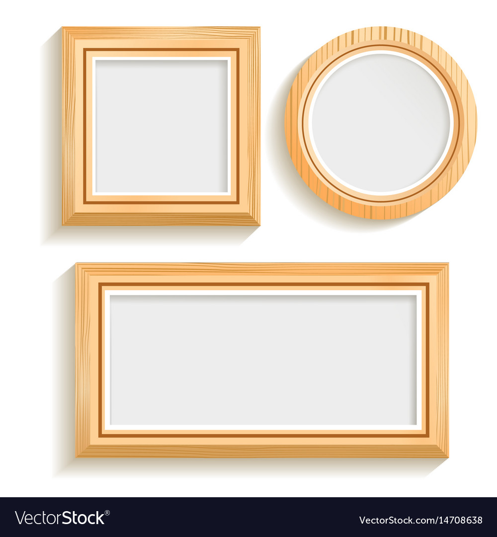 Wood frames set free vector - Isolated Wooden Frames Set Vector Image