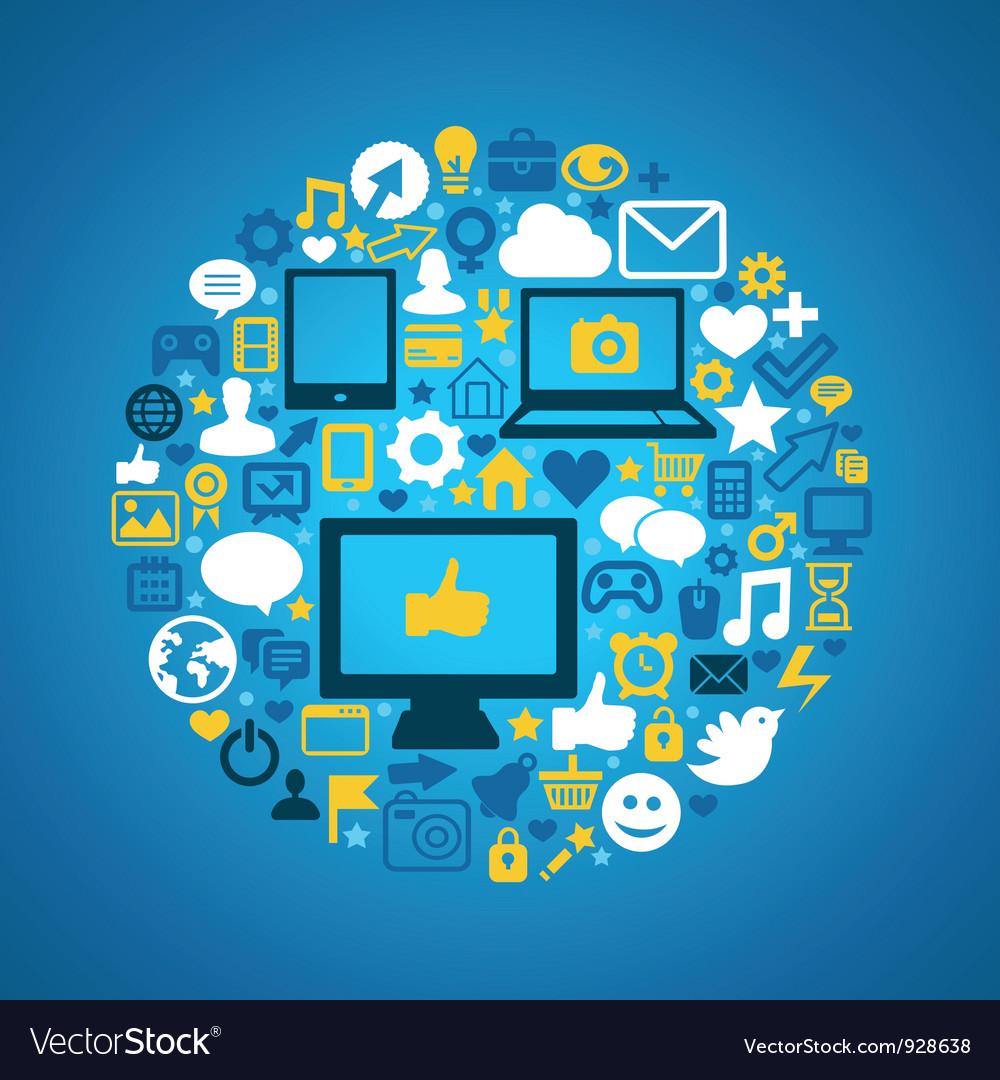Round social media concept Vector Image