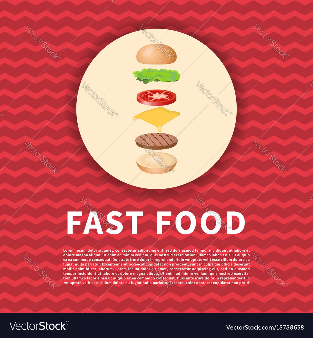 The ingredients of the burger on red poster cute vector image