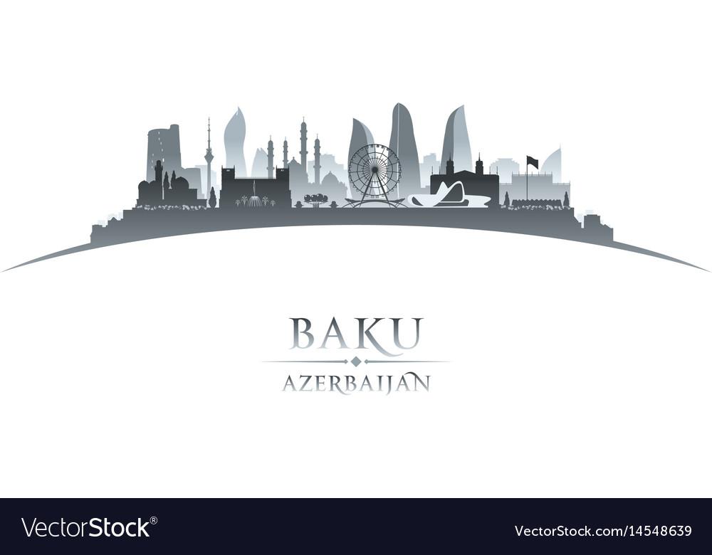 Baku azerbaijan city skyline silhouette white vector image