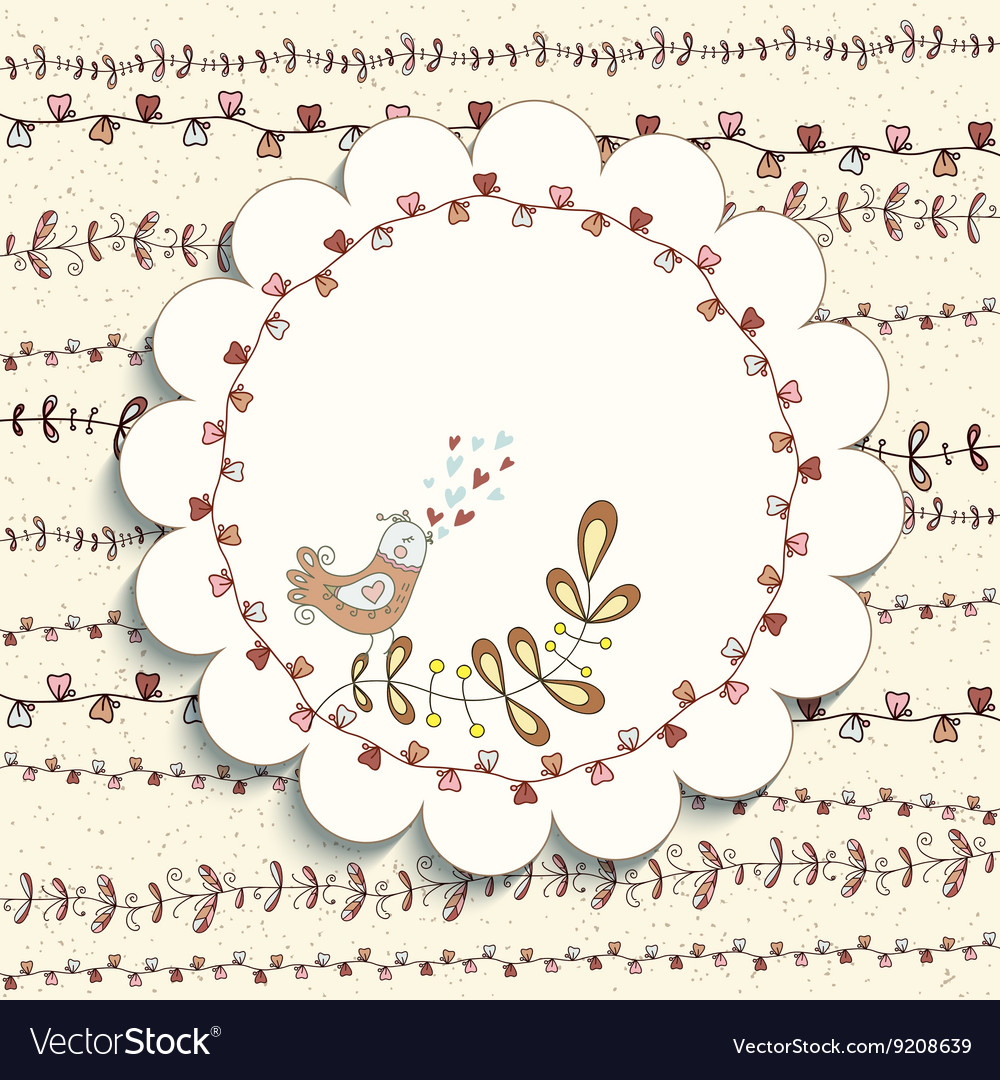 Frame with floral patterns and cute bird vector image