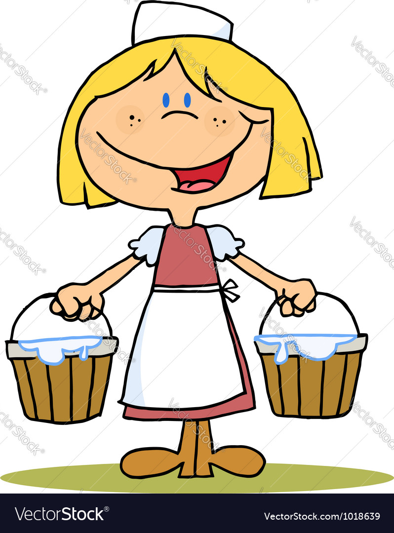 Maid Milking vector image