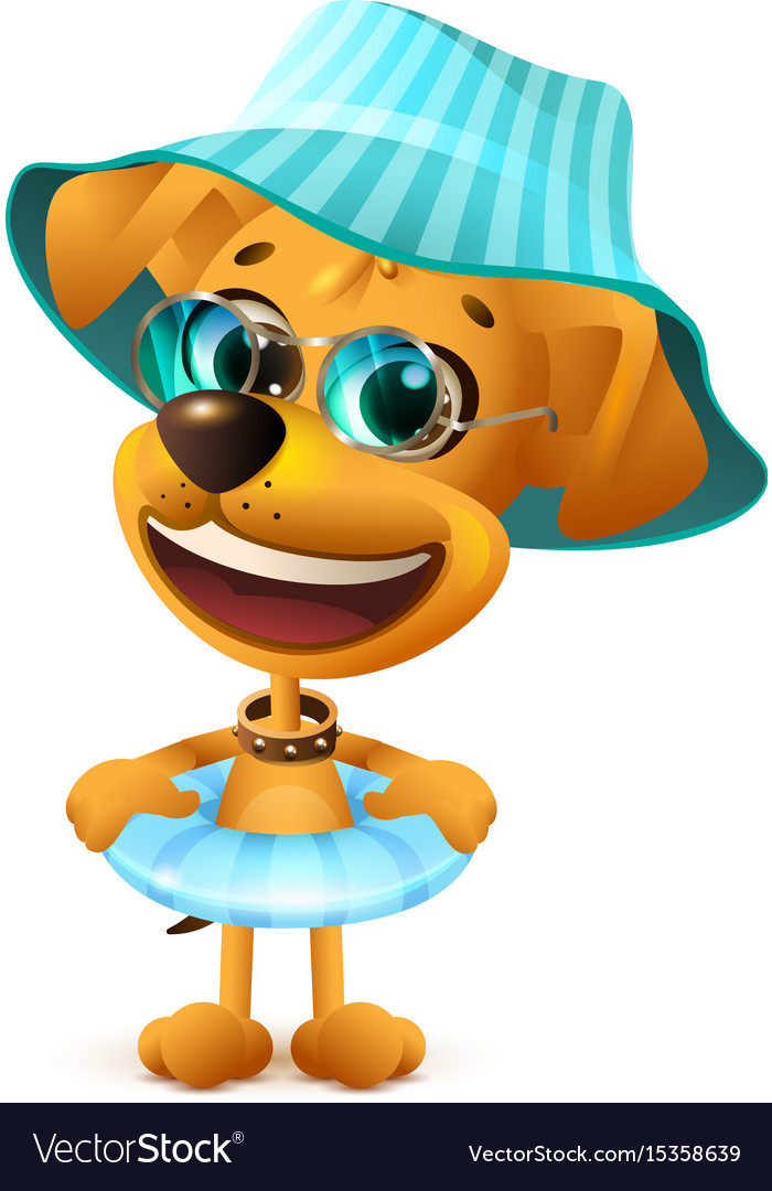 Yellow dog in hat and with swimming circle vector image