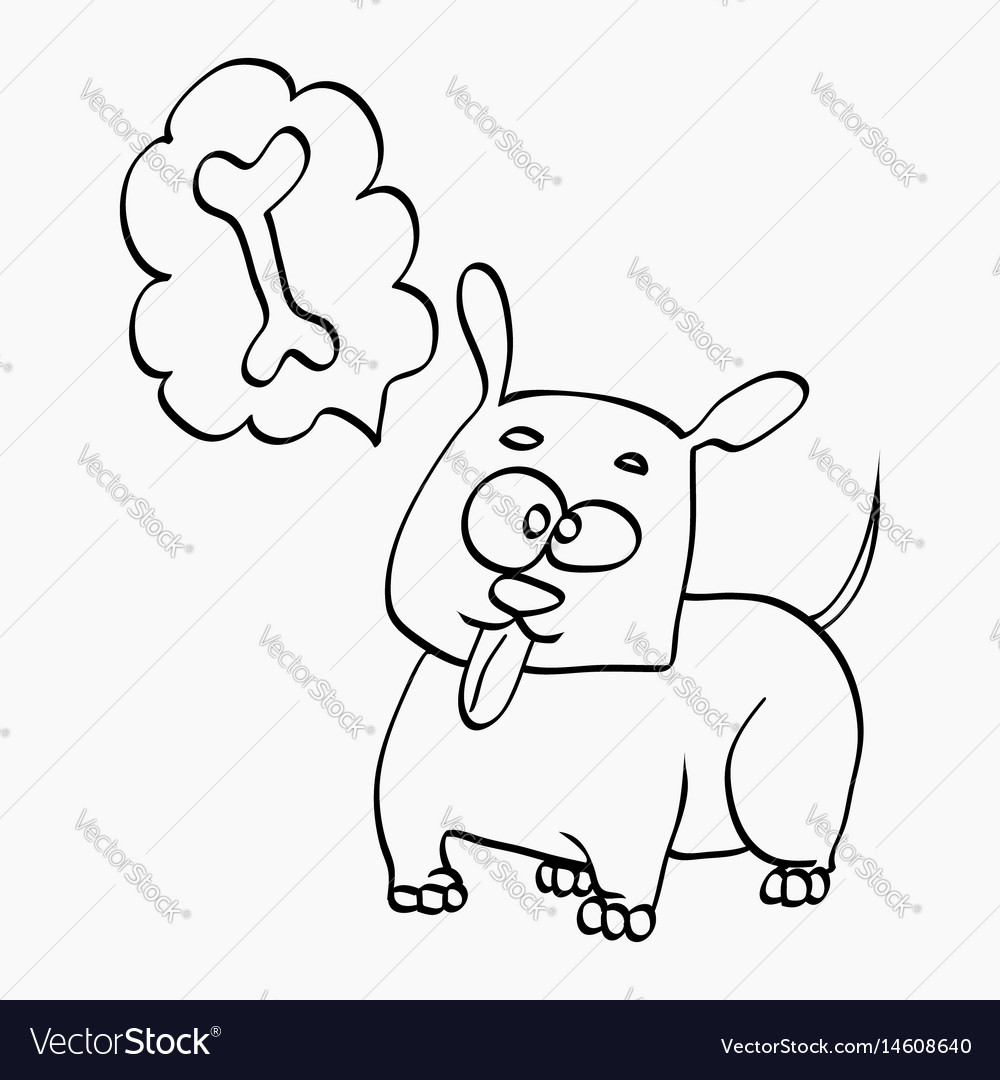 Dog think about bone freehand sketch vector image