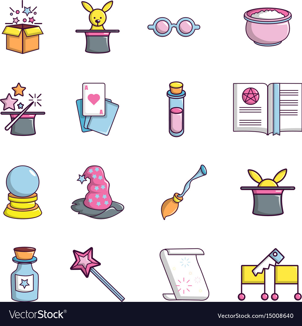 Magic trick icons set cartoon style vector image