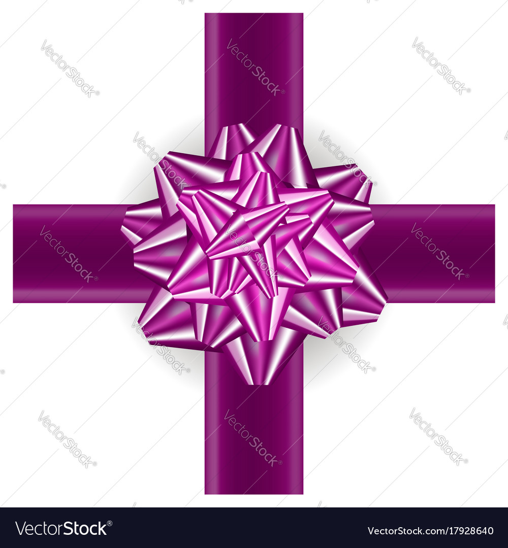 Pink gift bow isolated vector image