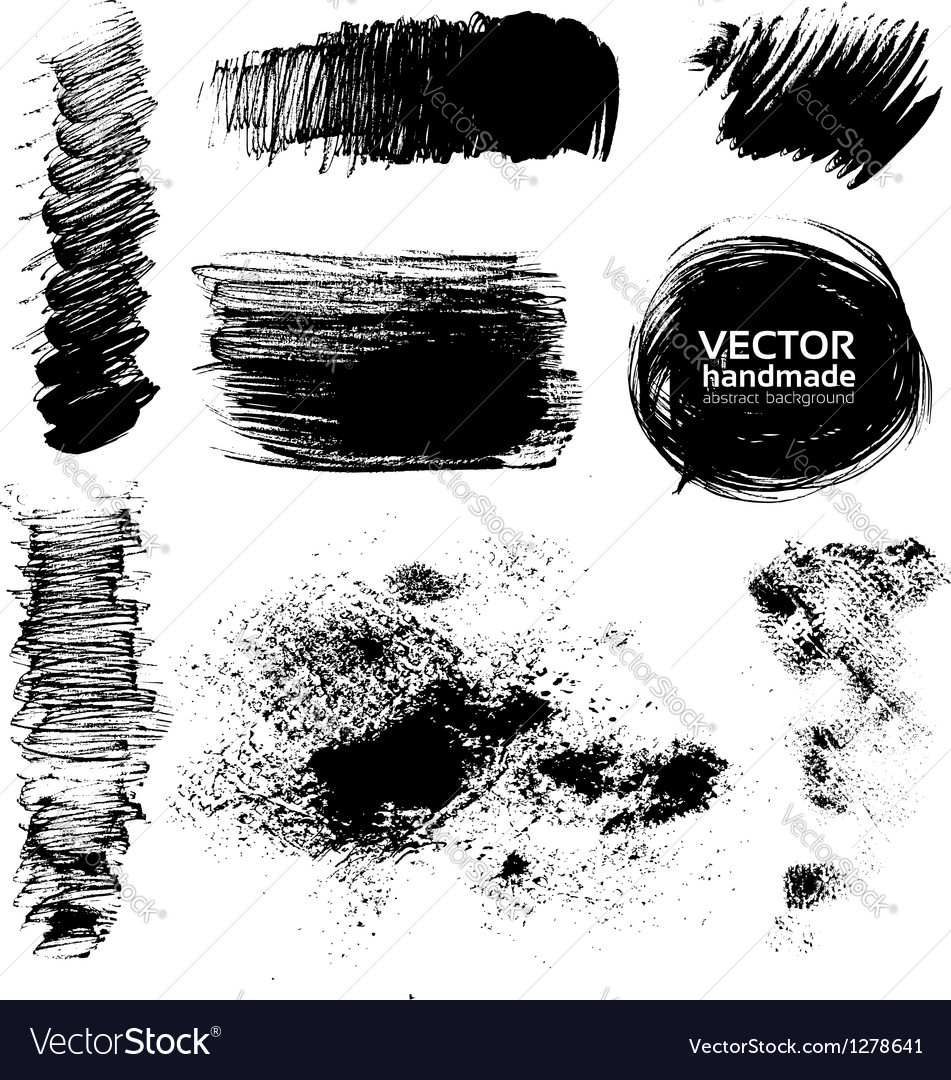 Hand-drawing textures of brush strokes vector image