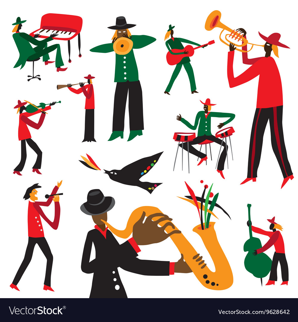 Jazz musicians - cartoons set vector image
