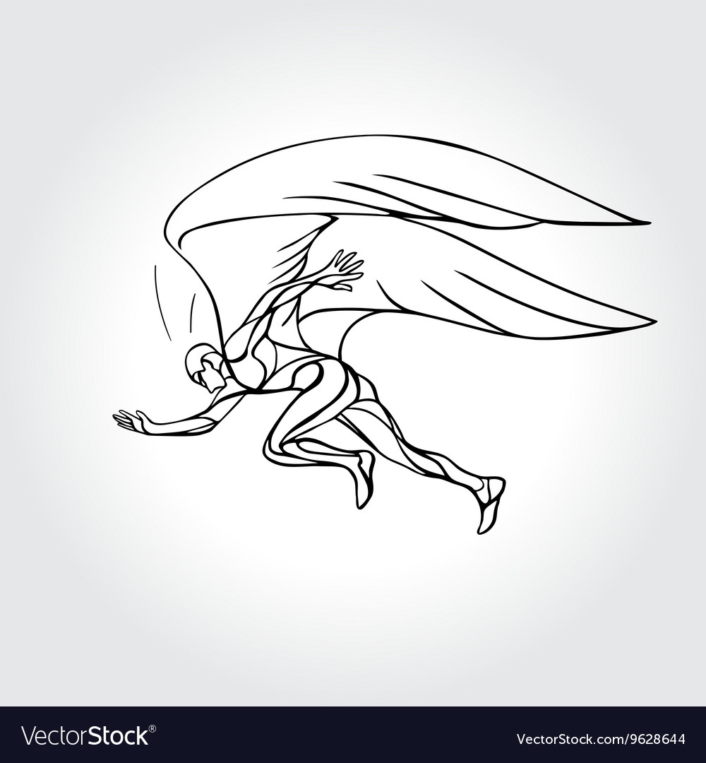 Start running Man with wings vector image