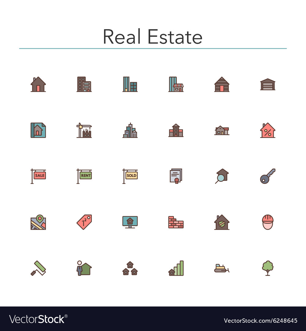 Real Estate Colored Line Icons vector image