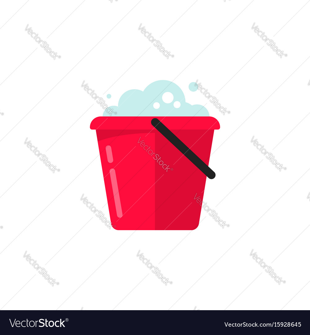 Bucket of water icon flat cartoon pail or vector image