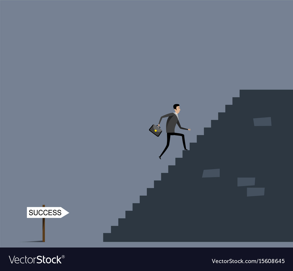 Businessman with case going upstairs vector image