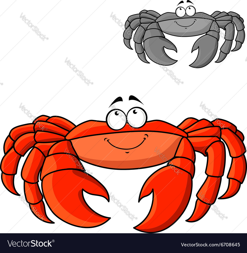 Cartoon smiling red crab with big claws vector image