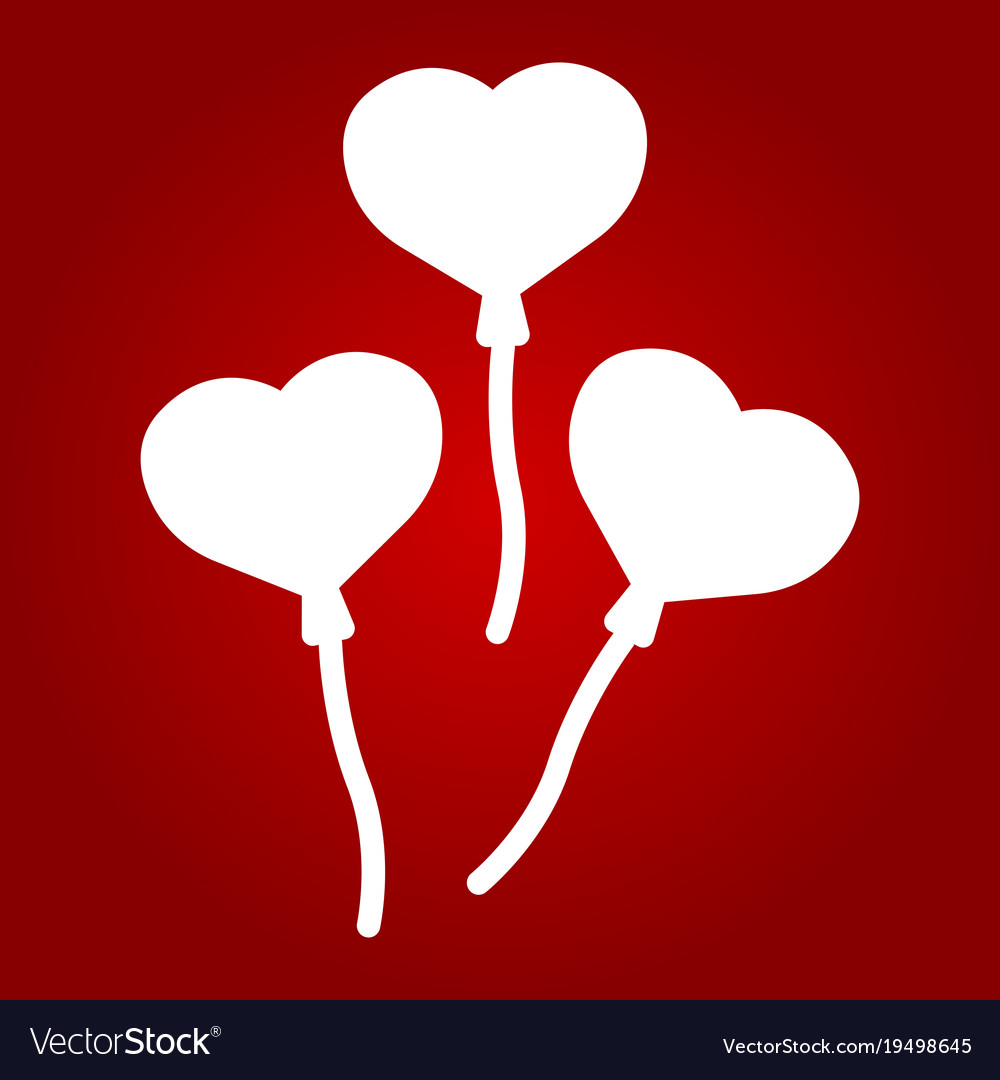 Heart shaped balloons line icon valentines day vector image
