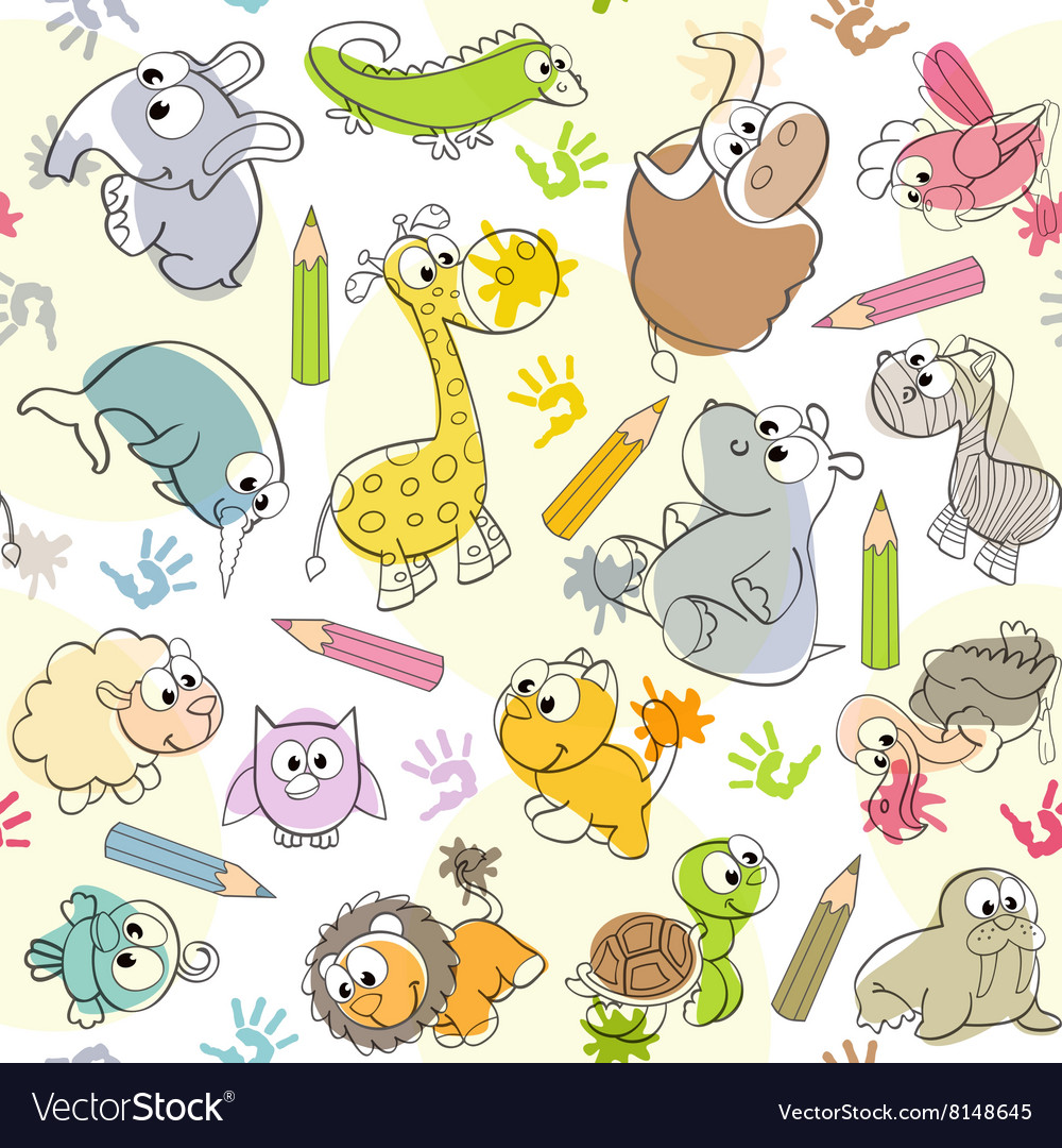 Seamless pattern with kids drawings of animals vector image