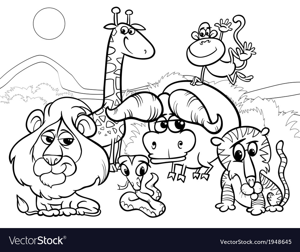 wild animals cartoon coloring page royalty free vector image