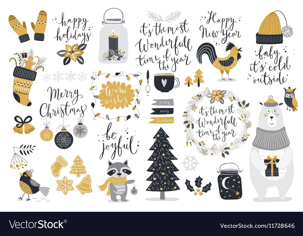 Christmas set hand drawn style - calligraphy vector image