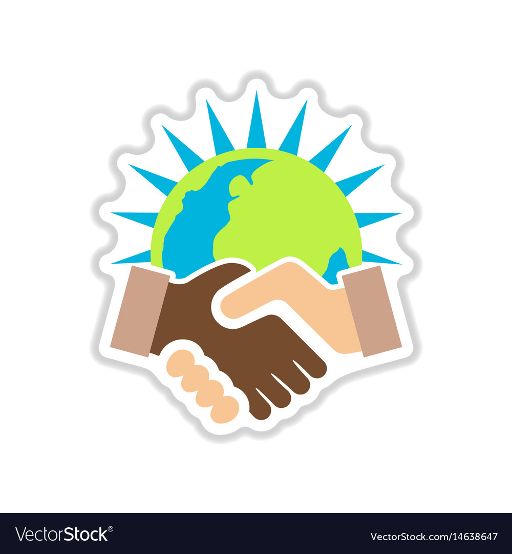 Paper sticker on white background handshake earth