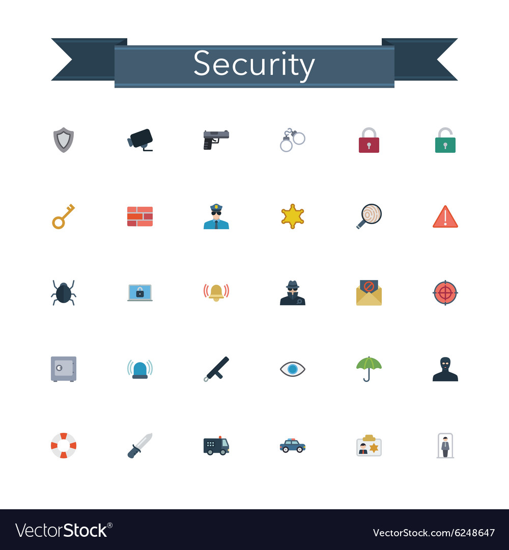 Security Flat Icons vector image