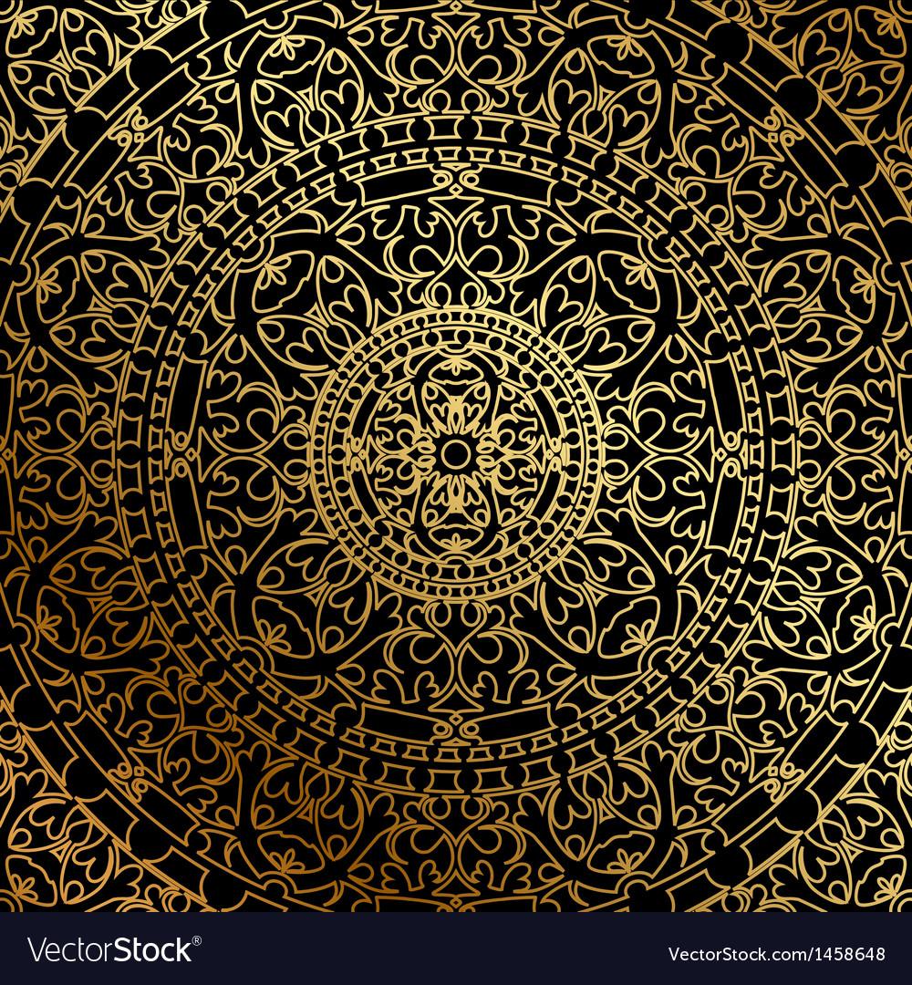 Black background oriental ornament vector image
