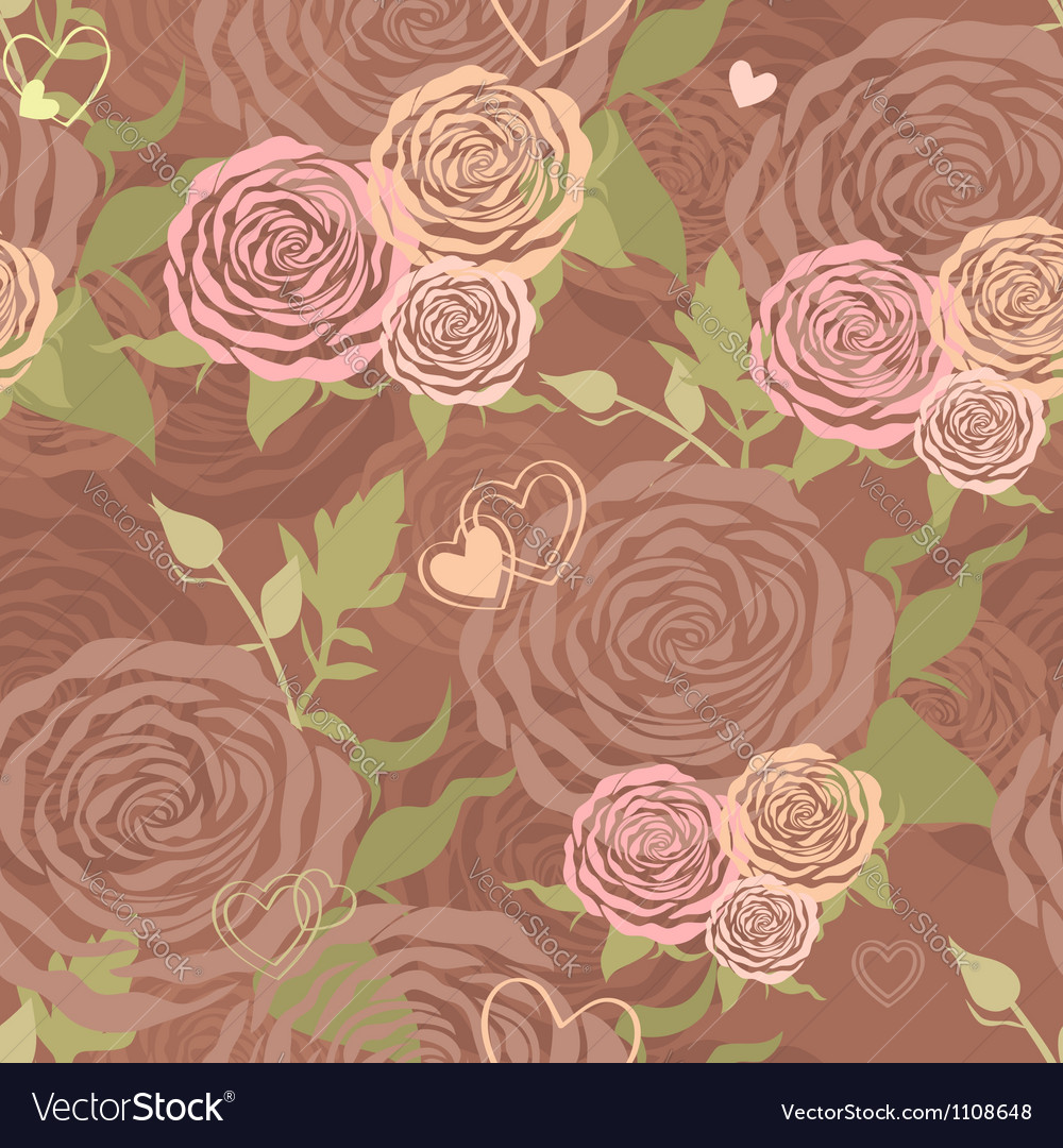 Pastel Valentines Day floral seamless pattern vector image
