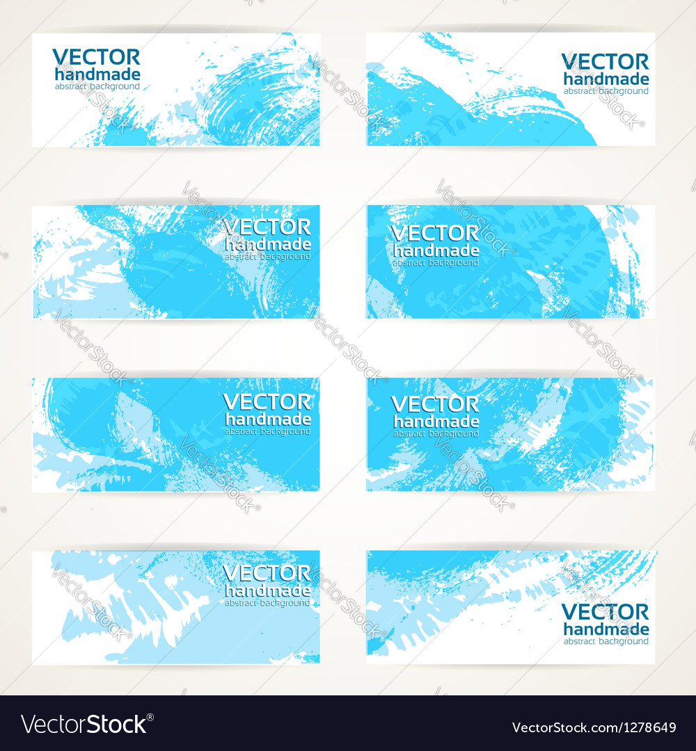 Set of abstract blue drawn by brush banners Vector Image