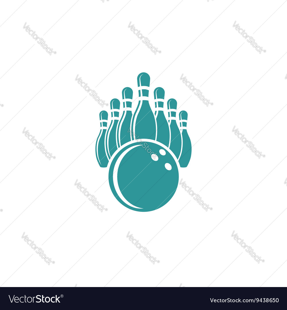 Bowling logo design mockup isolated graphic sport vector image