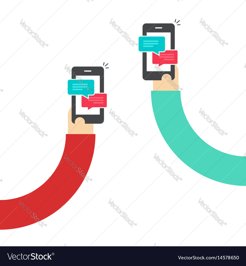 People chatting with mobile phones hands vector image