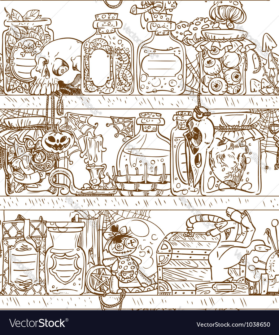 Seamless shelves with witch paraphernalia vector image