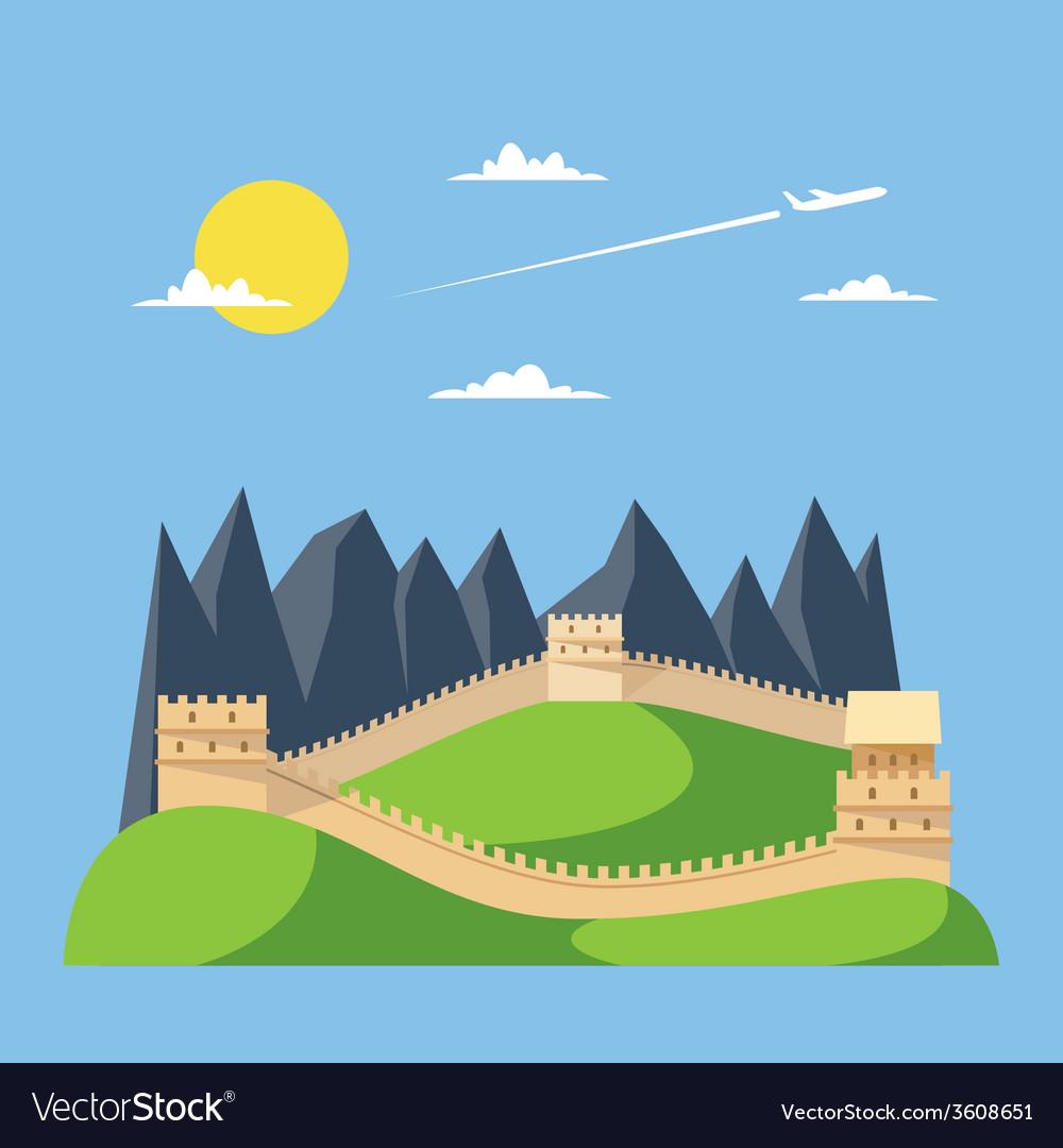 Flat design great wall of China vector image