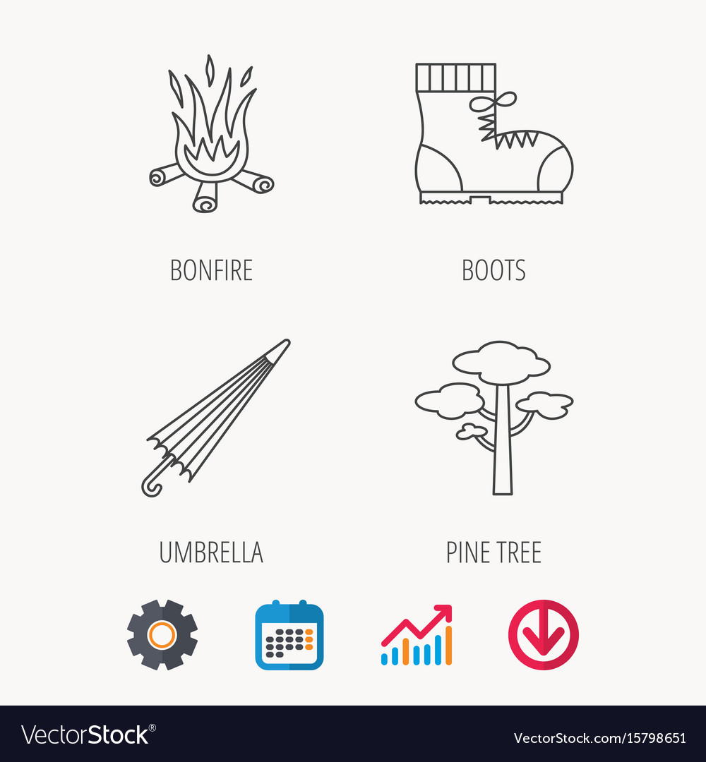 Pine tree bonfire and hiking boots icons vector image