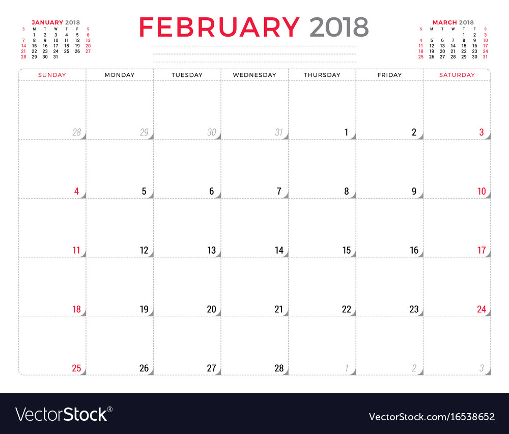 February Calendar Planner : February calendar planner design template vector image