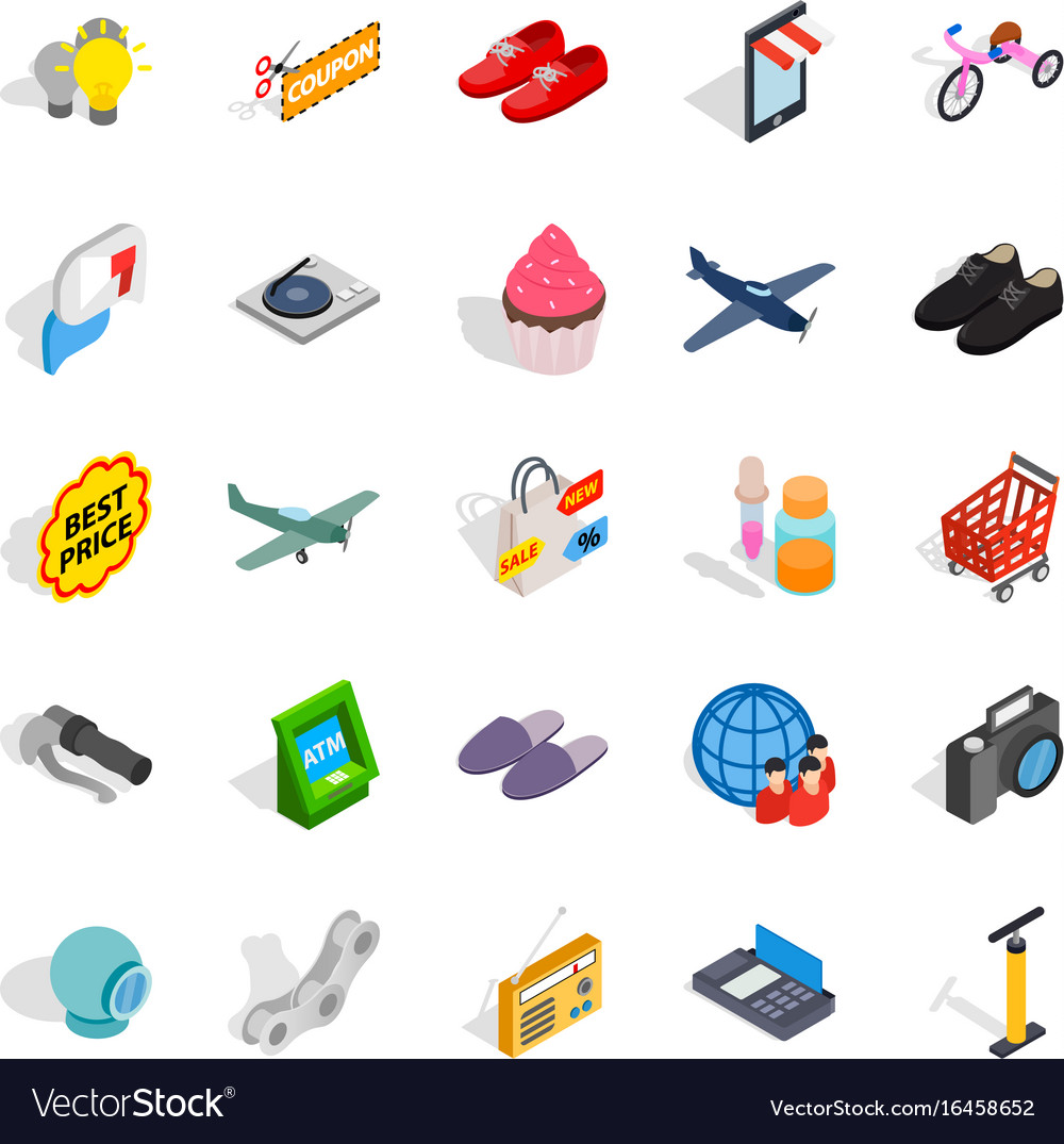 Internet marketing icons set isometric style vector image