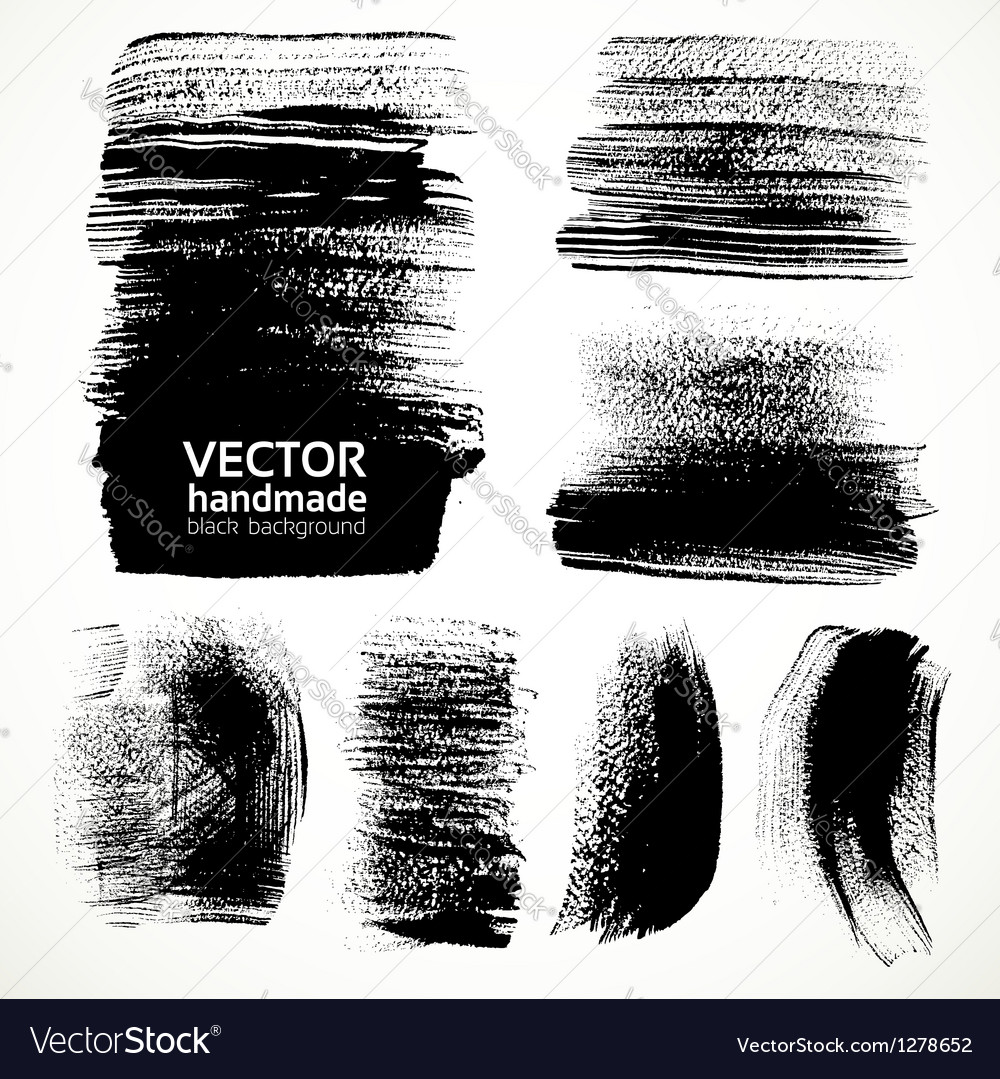Textured brush strokes brush and ink vector image