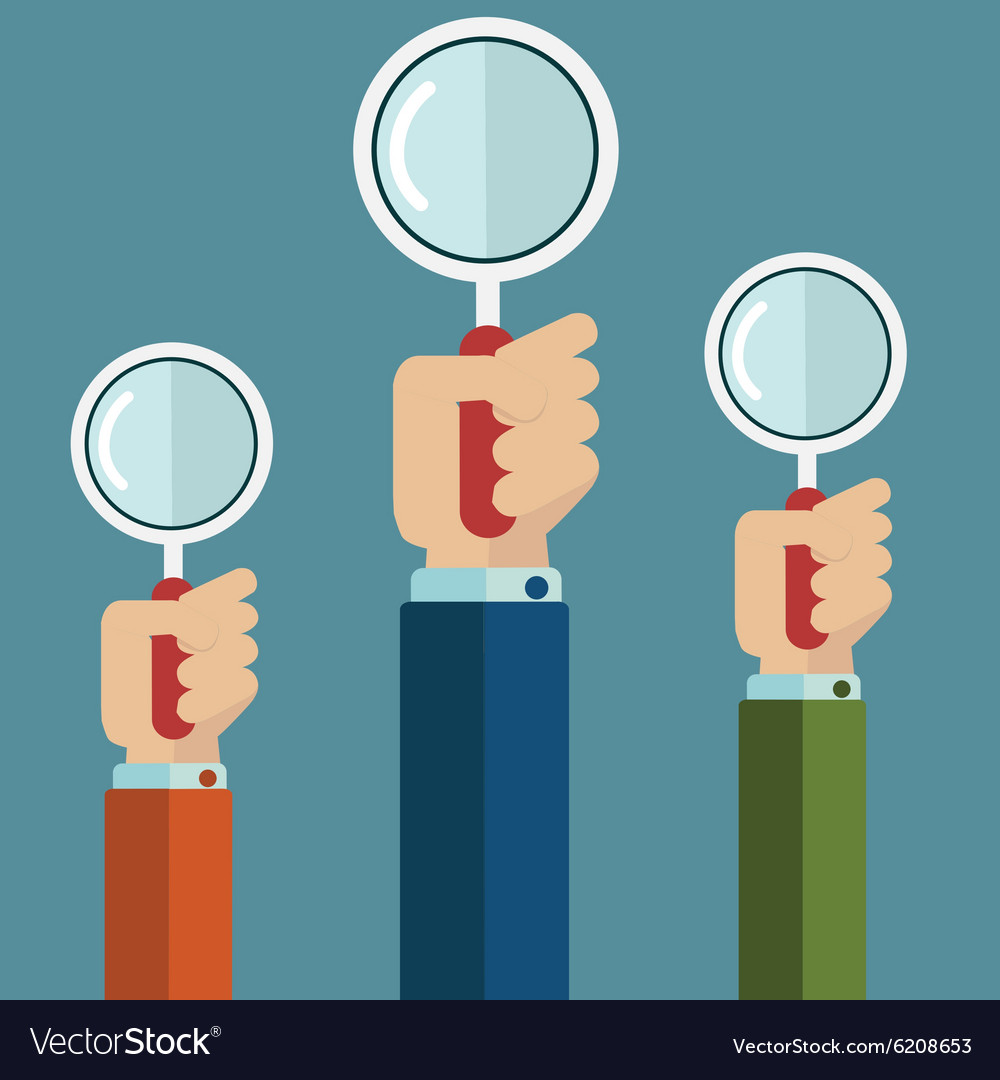 Hands holding a magnifying glass Flat design vector image