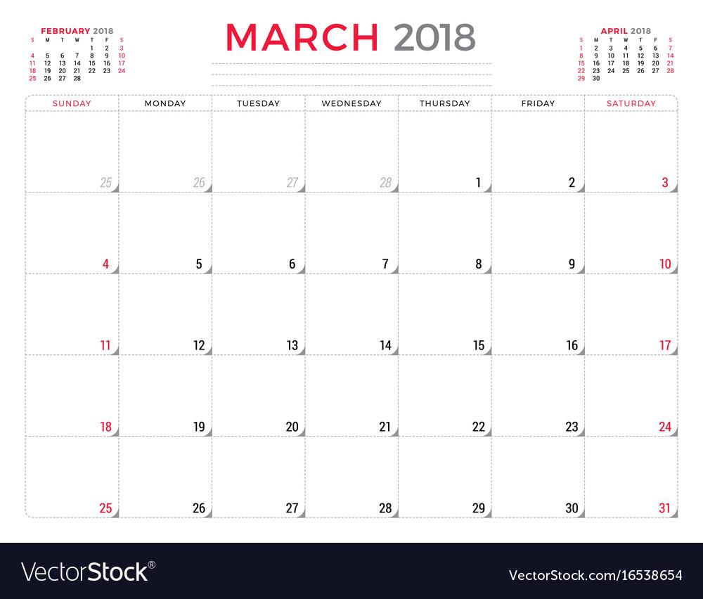 Calendar March 2018 Design : March calendar planner design template week vector image