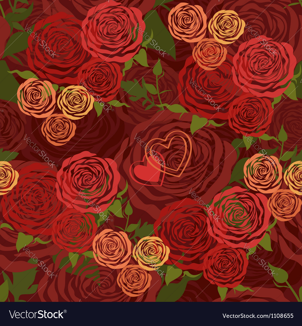 Red Valentines Day floral seamless pattern vector image