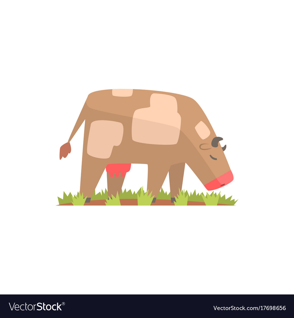 Cow grazing on a summer pasture dairy cow cartoon vector image