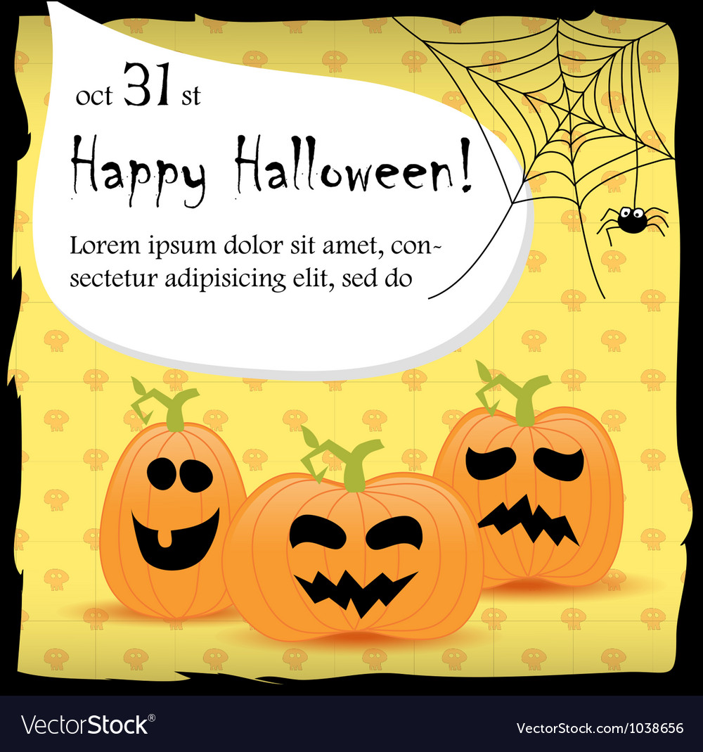 Halloween party invitation card with pumpkins Vector Image – Halloween Party Invitation Cards