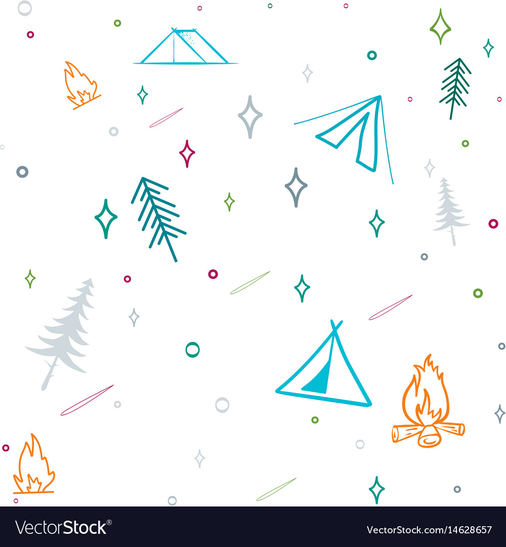 Cute seamless pattern camping in the woods vector image