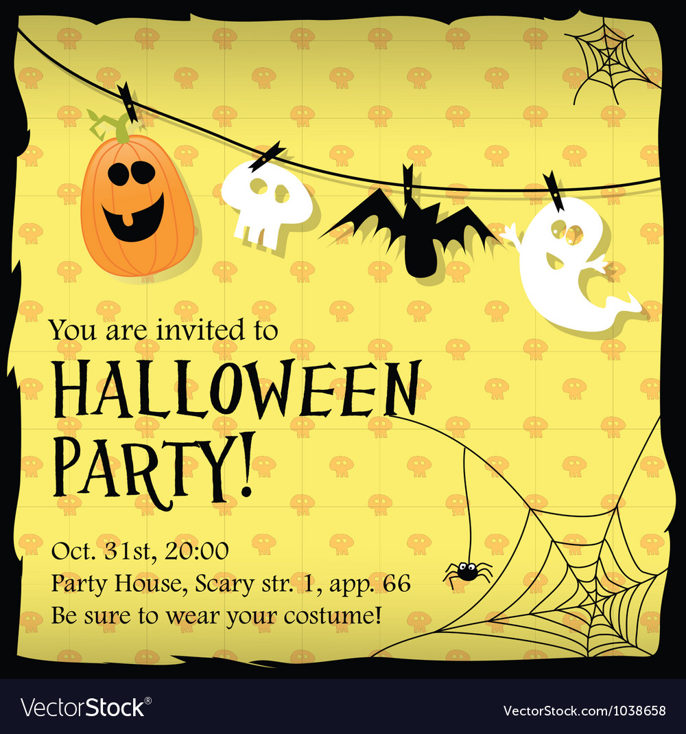 Halloween party invitation card with ghostbat Vector Image