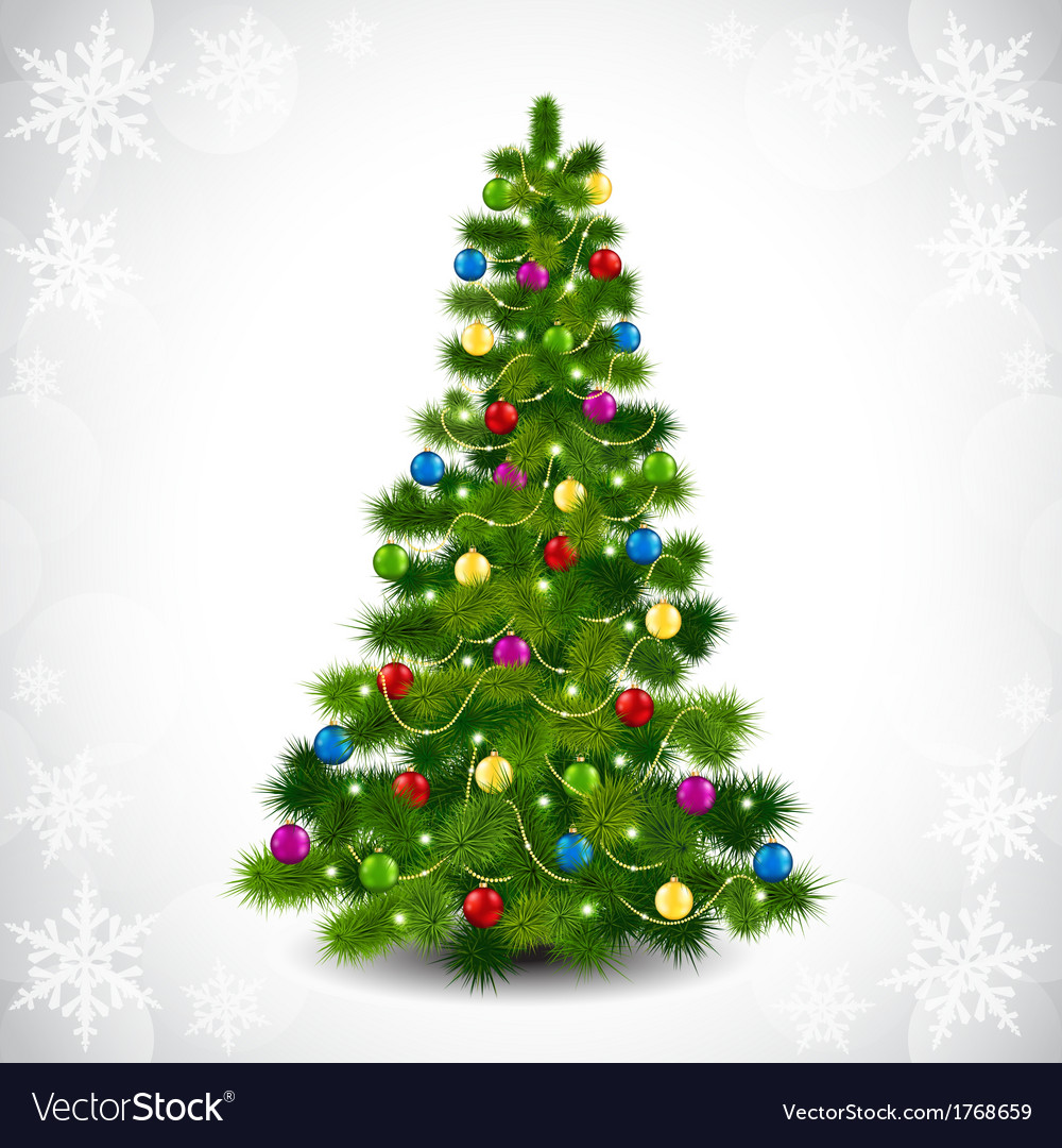 Christmas tree with colored balls Royalty Free Vector Image