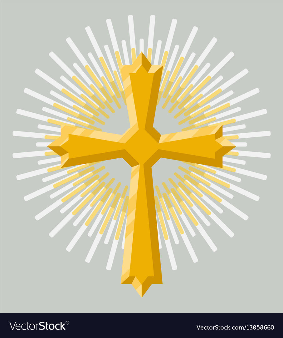 Golden holy cross icon isolated vector image