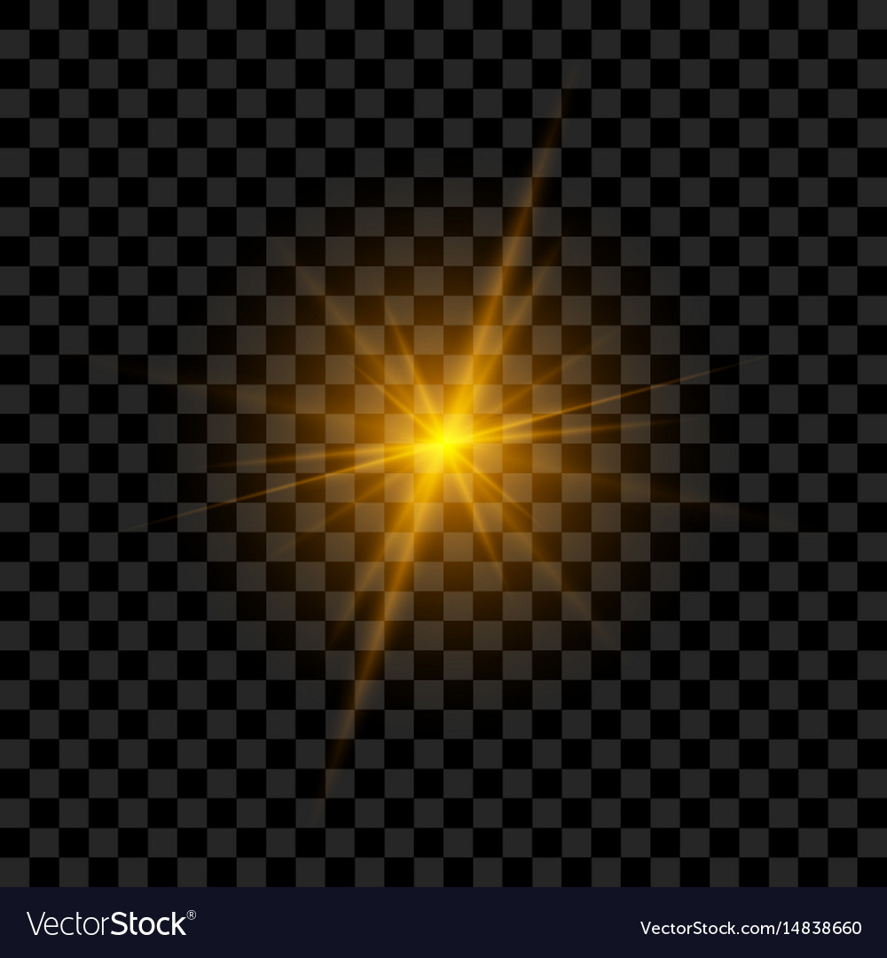 Light flash with rays and glowing vector image