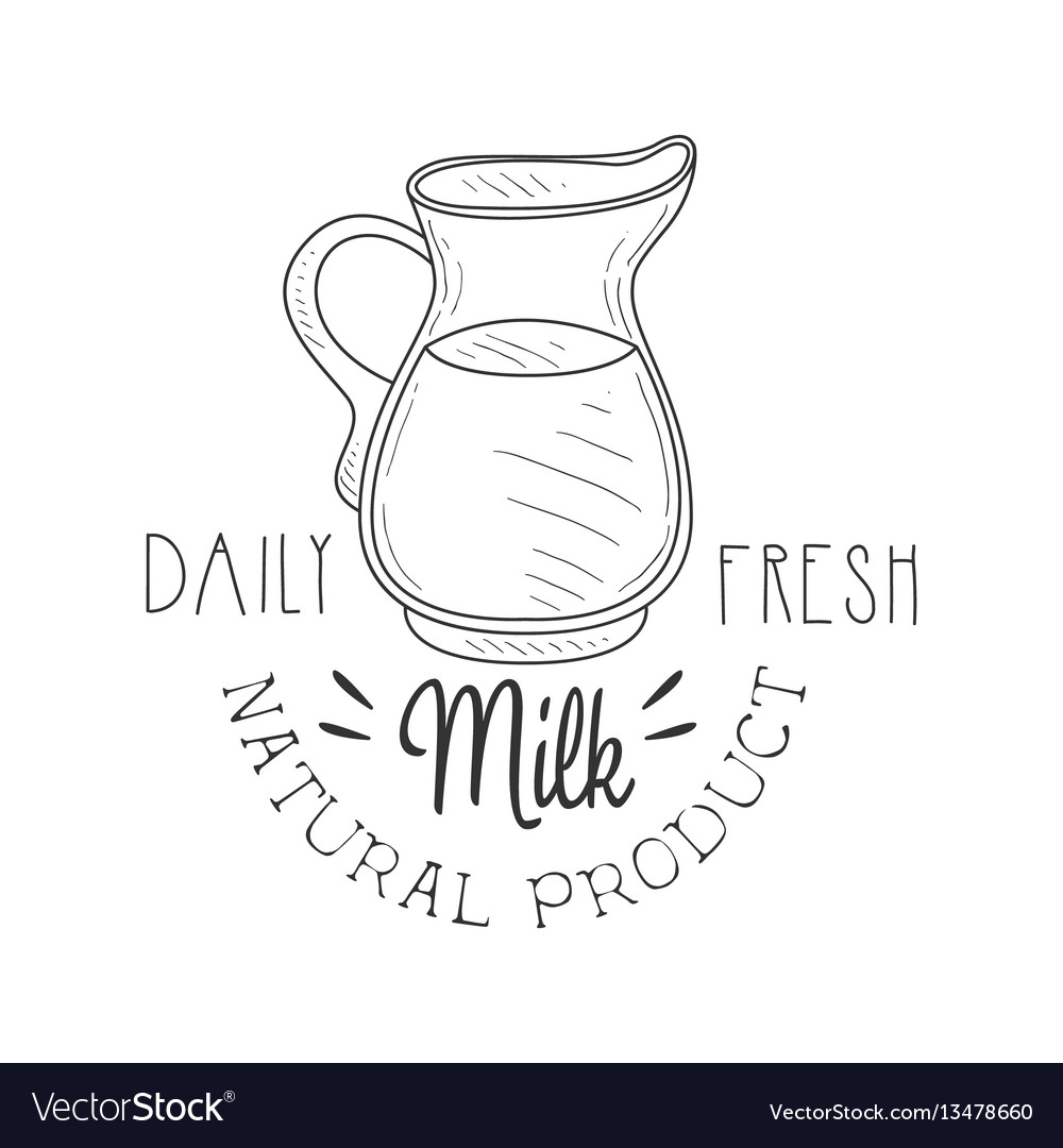 Natural product fresh milk product promo sign in vector image