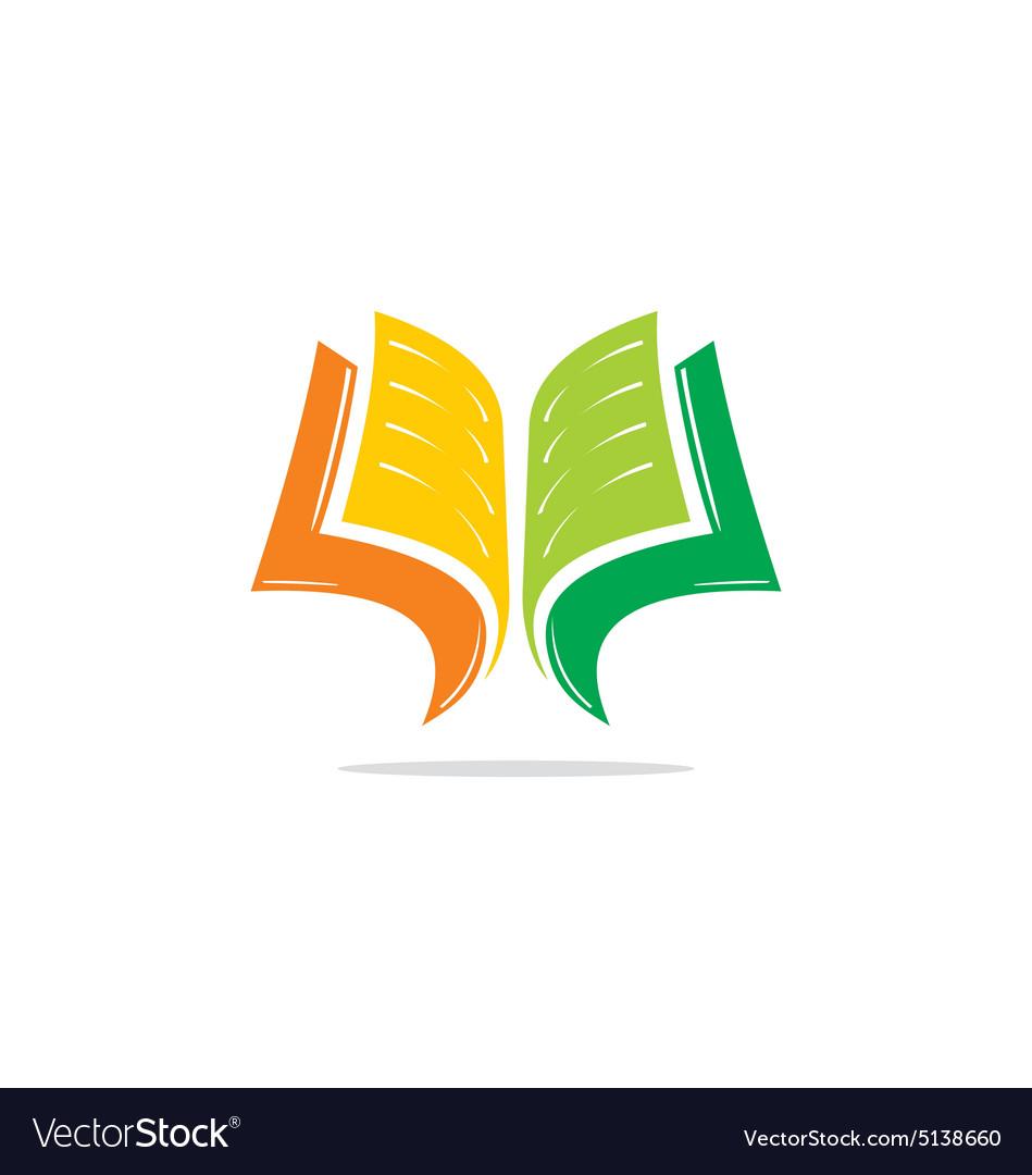 Book Cover Design Logo : Open book learn education logo royalty free vector image