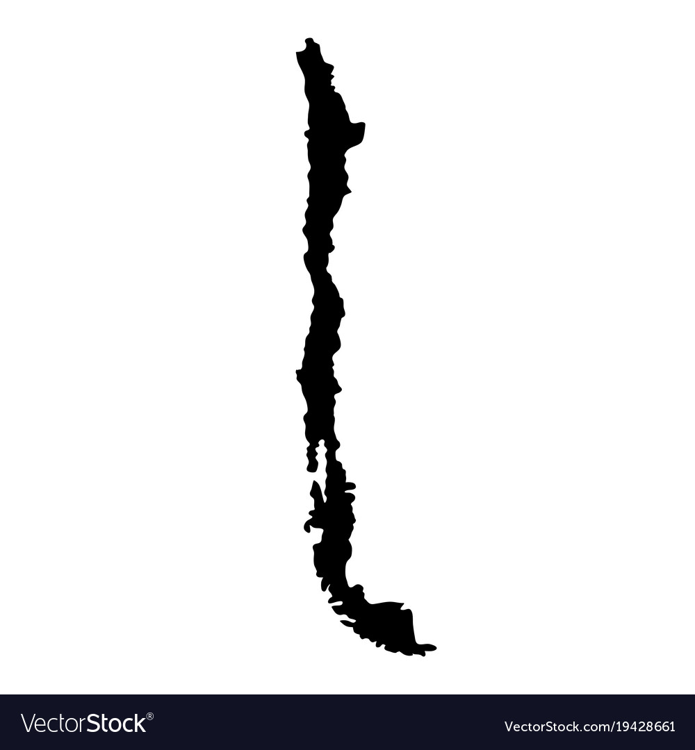 Black silhouette country borders map of chile on vector image
