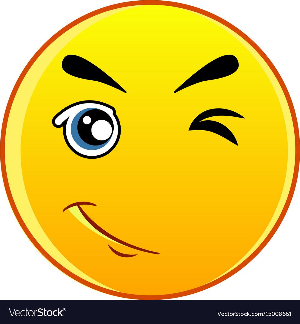Winking yellow emoticon icon cartoon style vector image